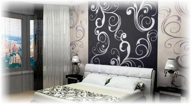 Дизайн комнаты с чёрно белыми обоями